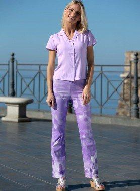 Pantalon, impr.Batik violet