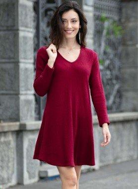 Robe, tricot côtelé