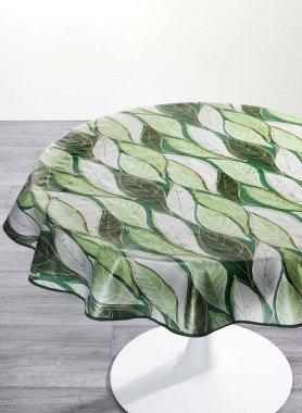 Nappe plastifiée, motif feuilles
