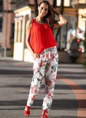 Pantalon casual, coton/lin