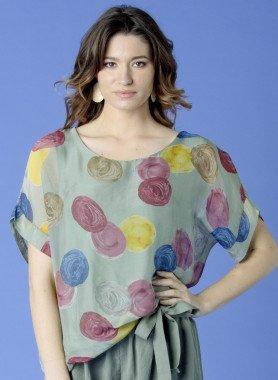 Shirt, m.courtes viscose/soie