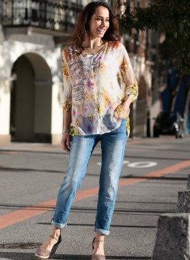 Jeans 5 poches, optique fripé