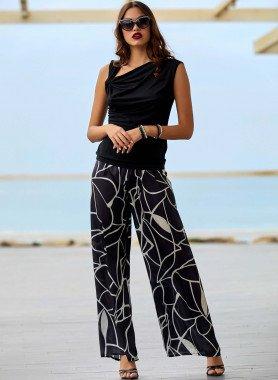 Pantalon, motif graphique noir/beige