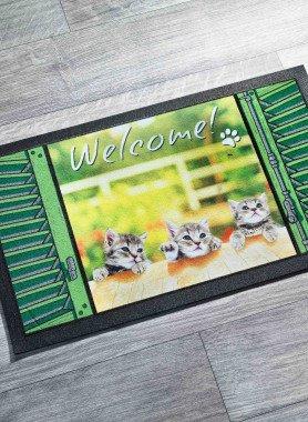 """Paillasson """"WELCOME"""" avec chiots"""