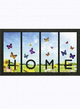 """Paillasson """"HOME"""" , papillons, dess. M"""