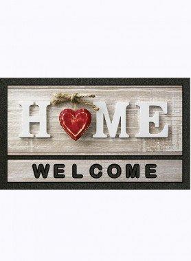 """Paillasson """"Home"""" , coeur rouge, dess. L"""