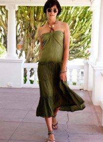 D-Neck.Kleid,Batik olive L 086 - 2 - Ronja.ch