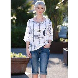 Jeans pantacourt,5 poches,look fripé