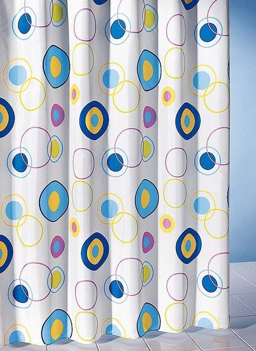 Tenda da doccia tessile, cerchi a colori