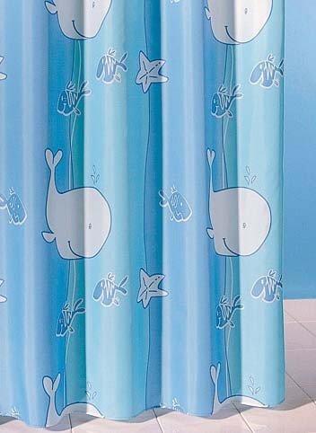 Tenda da doccia tessile con balene, col.blu