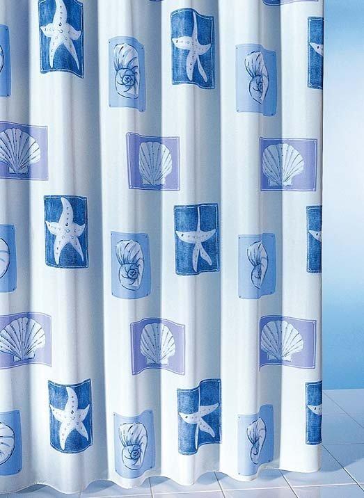 Tenda da doccia tessile con conchiglie