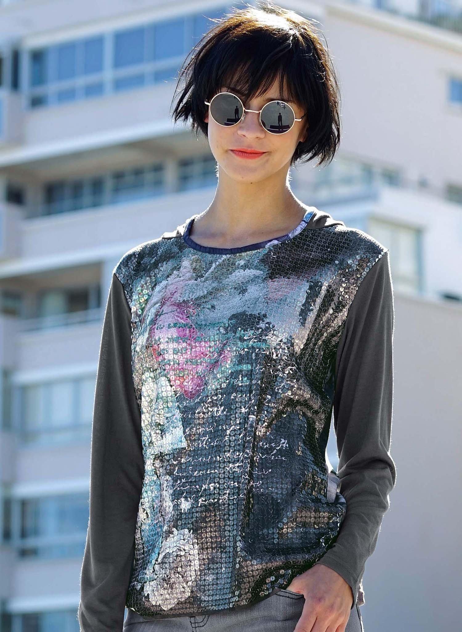 D-LA-Kap.Shirt,Pailletten grau L 003 - 1 - Ronja.ch