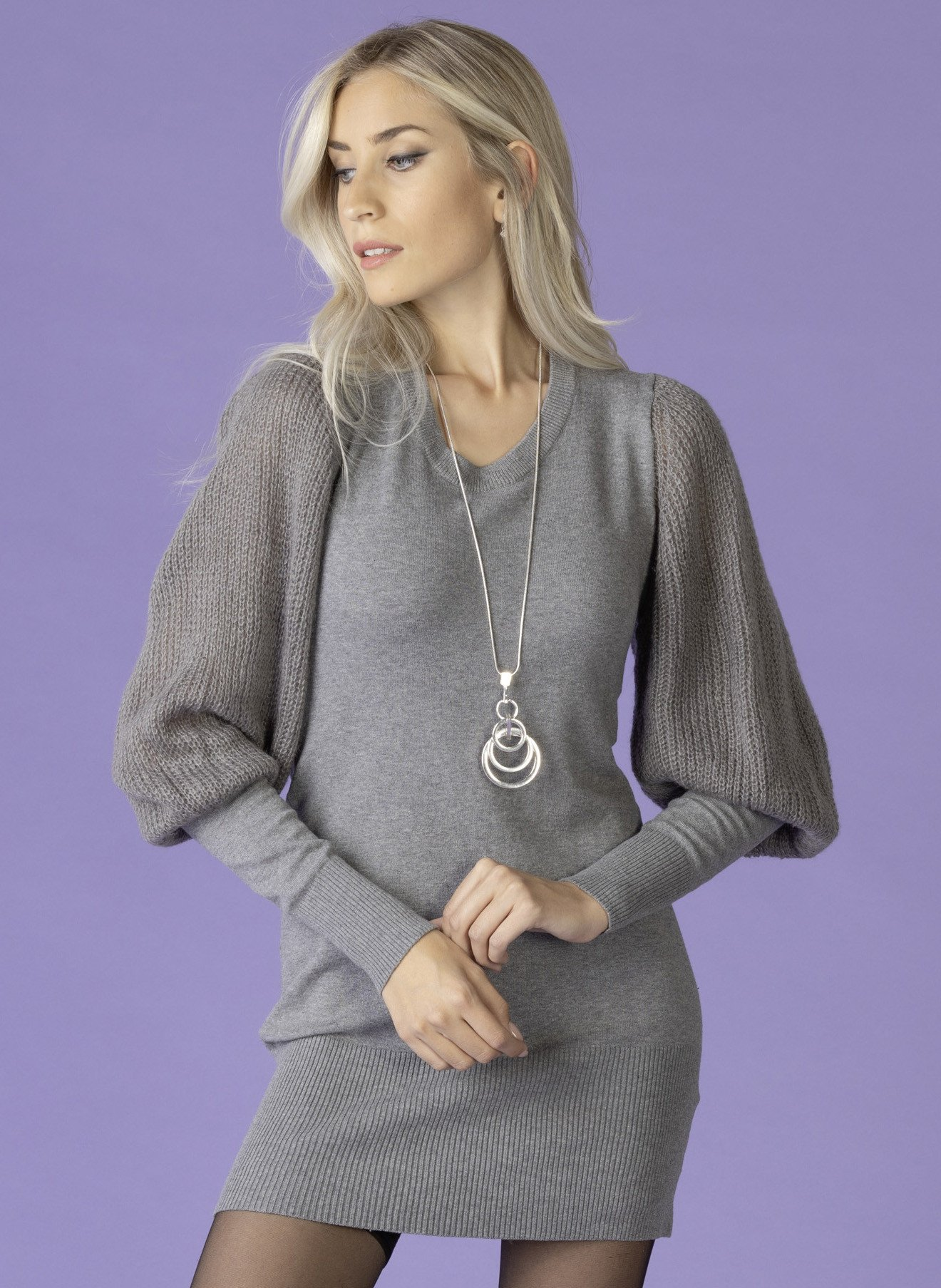 D-Strick-Top/Kleid grau mel. L 004