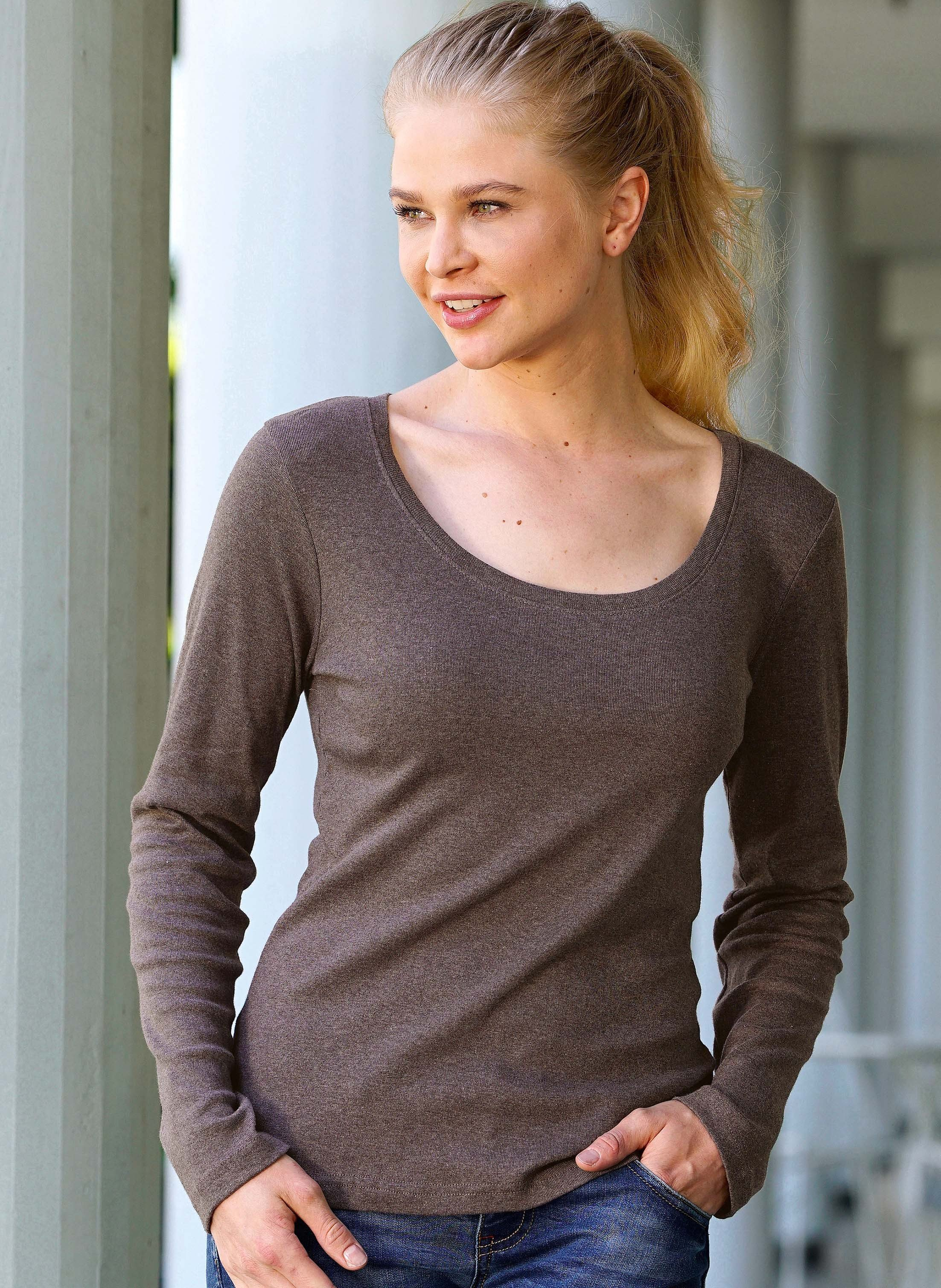 Shirt con maniche lunghe, disp.in 6 colori