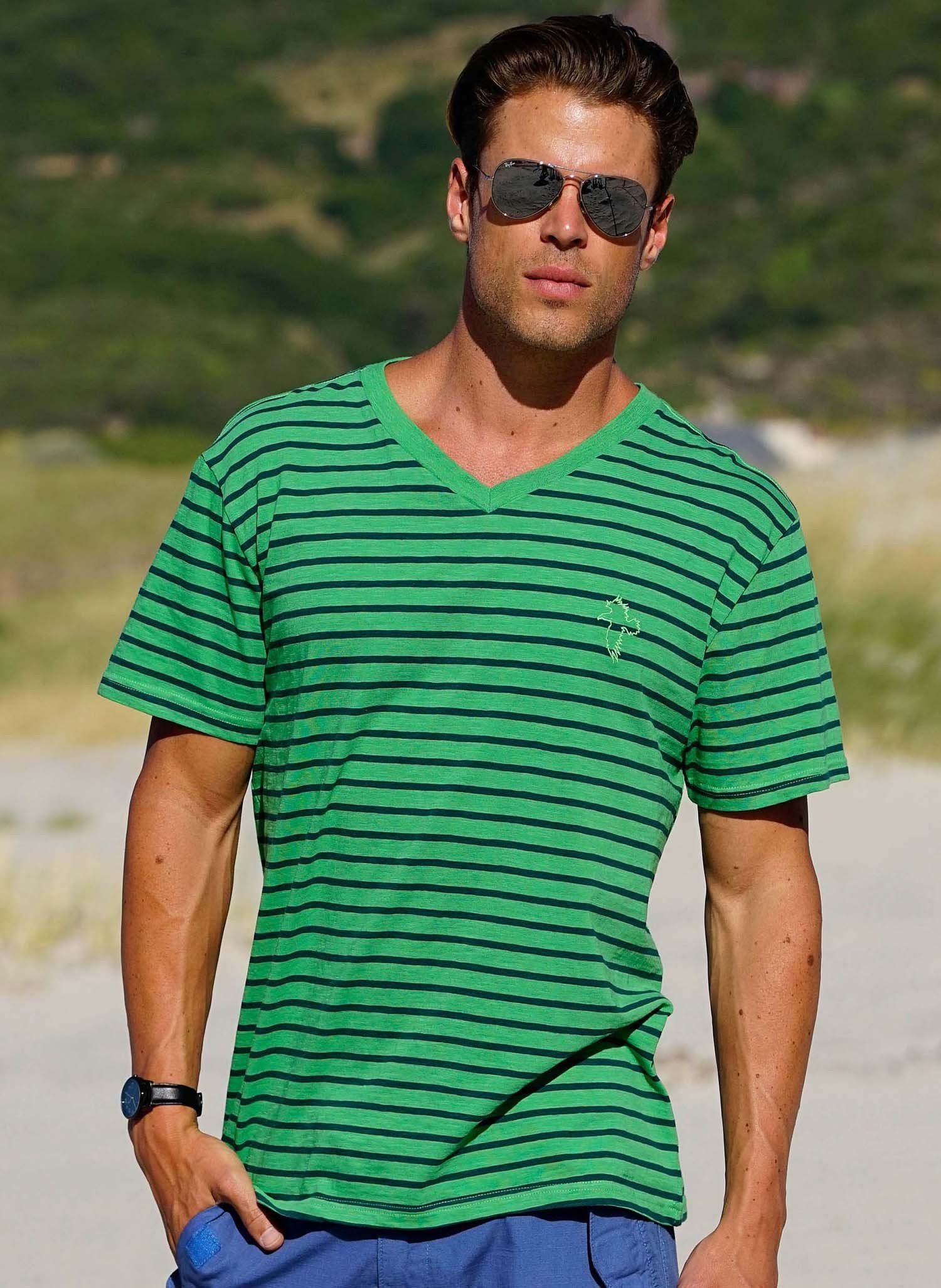 H-KA-Shirt,V-Auss grün/marine L 059 - 2 - Ronja.ch