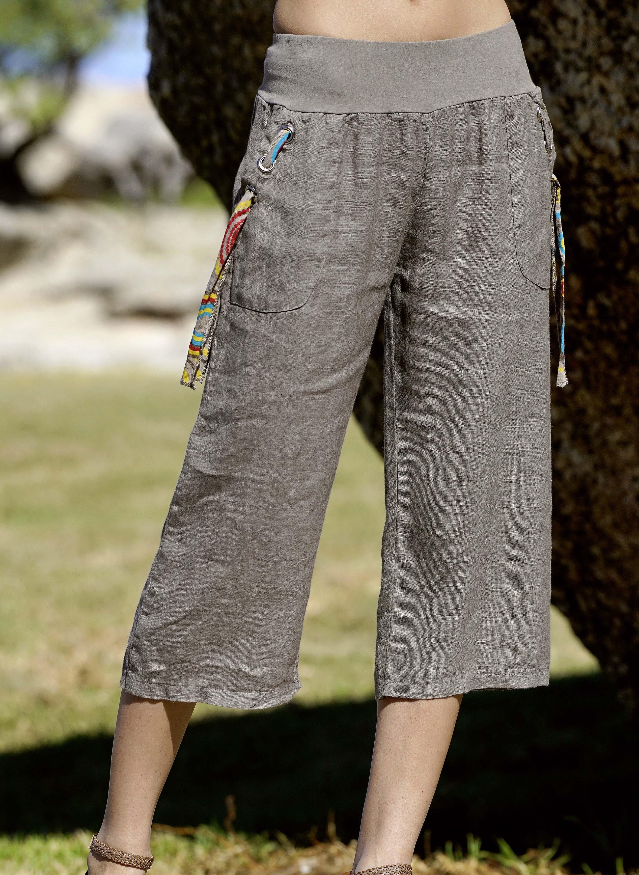 Pantalone Capri di lino, disp. in 4 colori