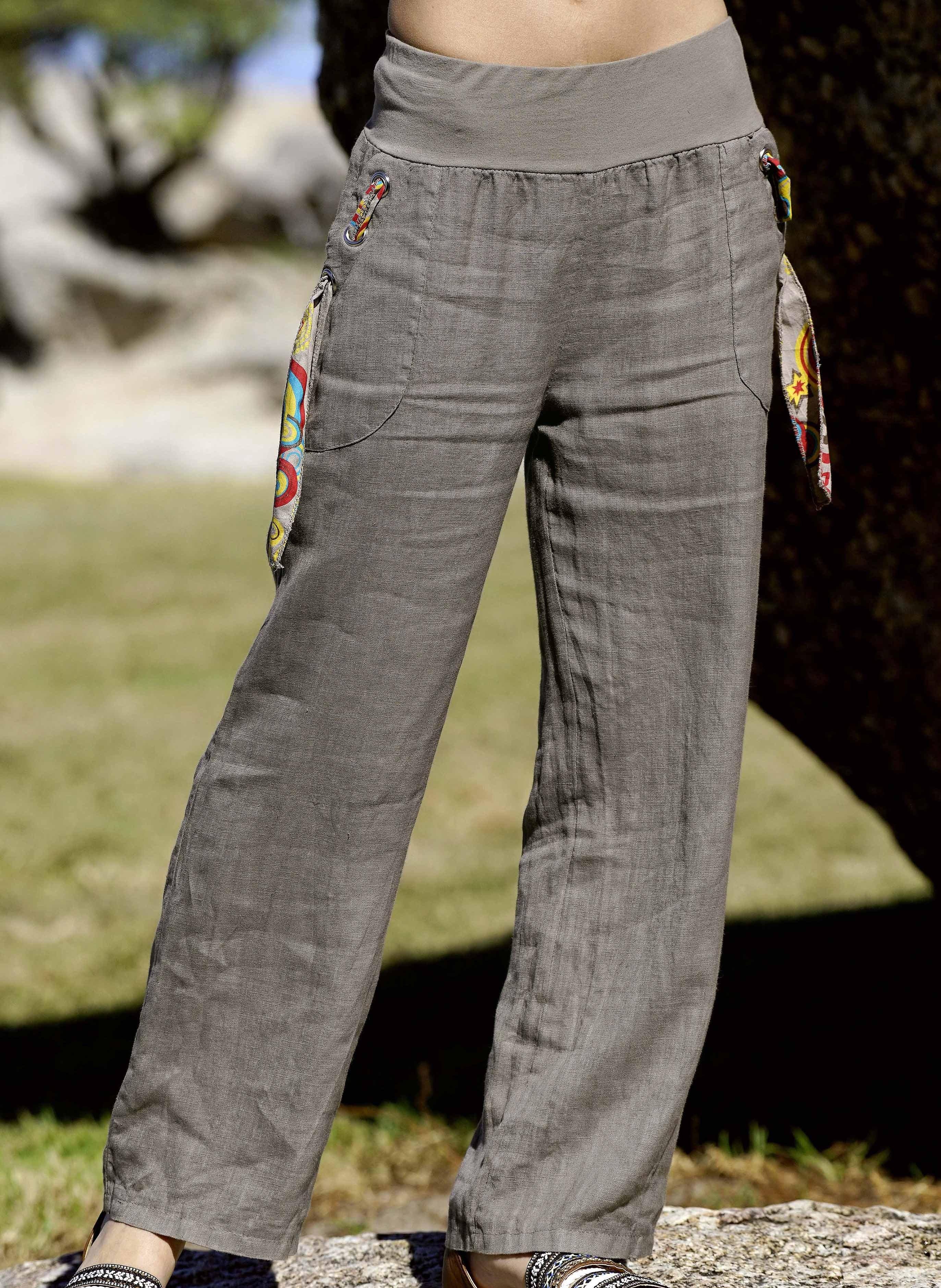 Pantalone di lino, disp. in 4 colori
