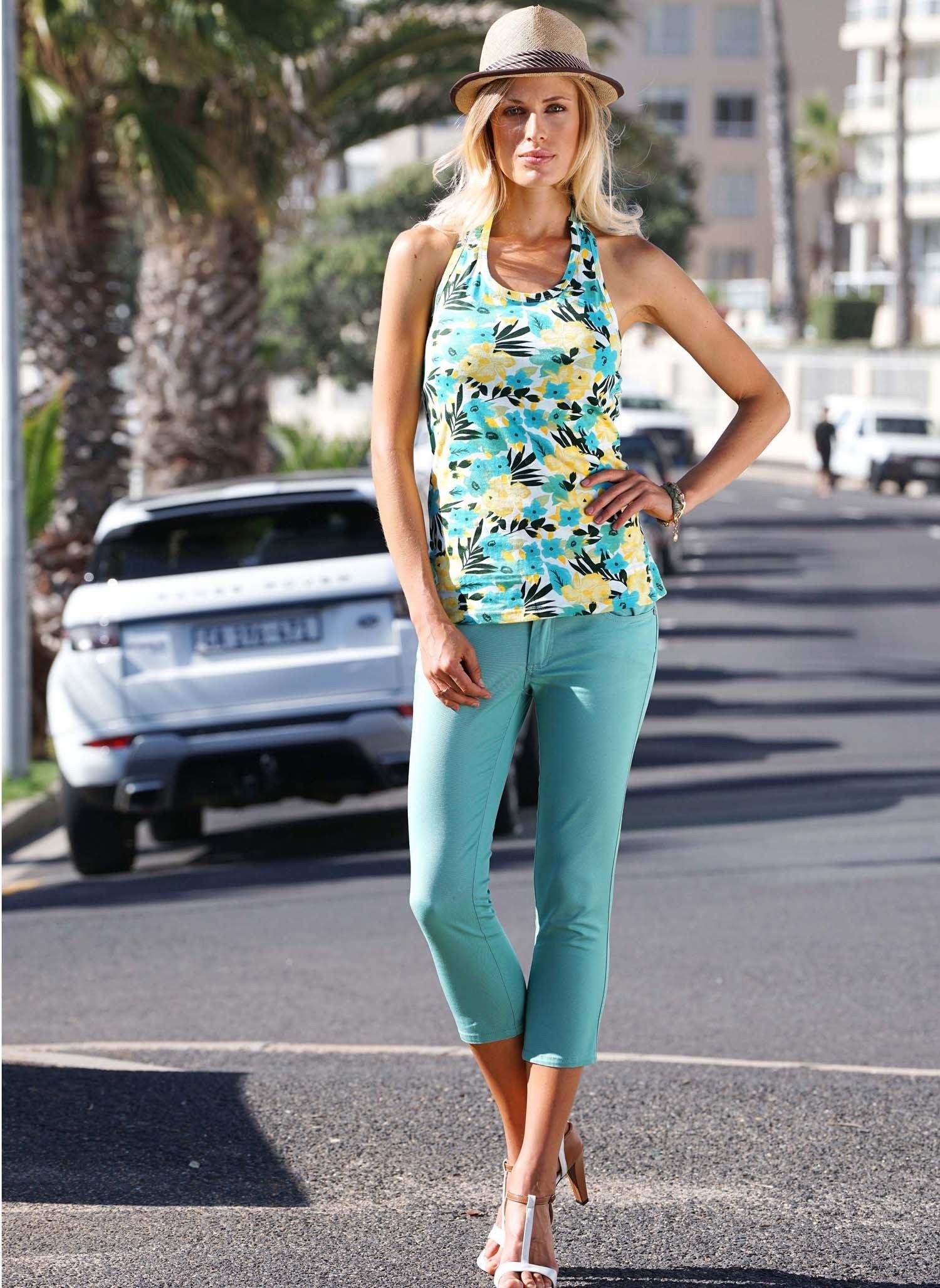 D-Capri-Colors-Jeans türkis L 069 - 1 - Ronja.ch