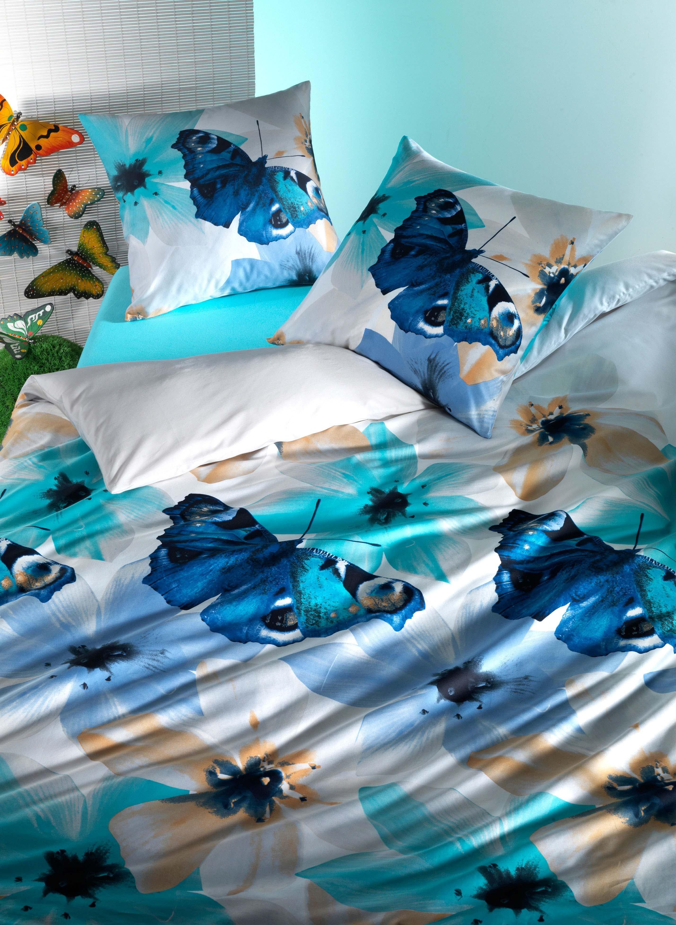 "Biancheria da letto in satin ""BLUE MORPHO"""