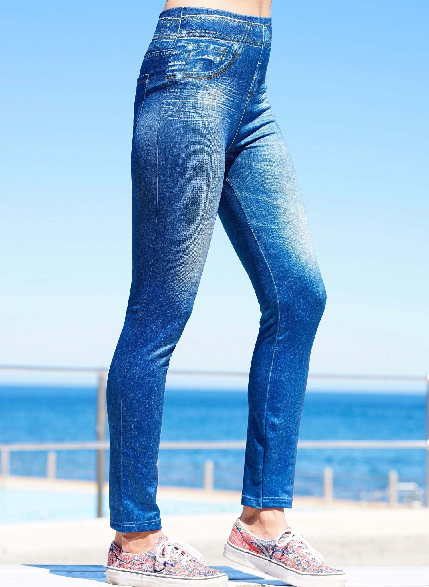 D-Leggings,Print Blue-Denim S/M 050 - 1 - Ronja.ch