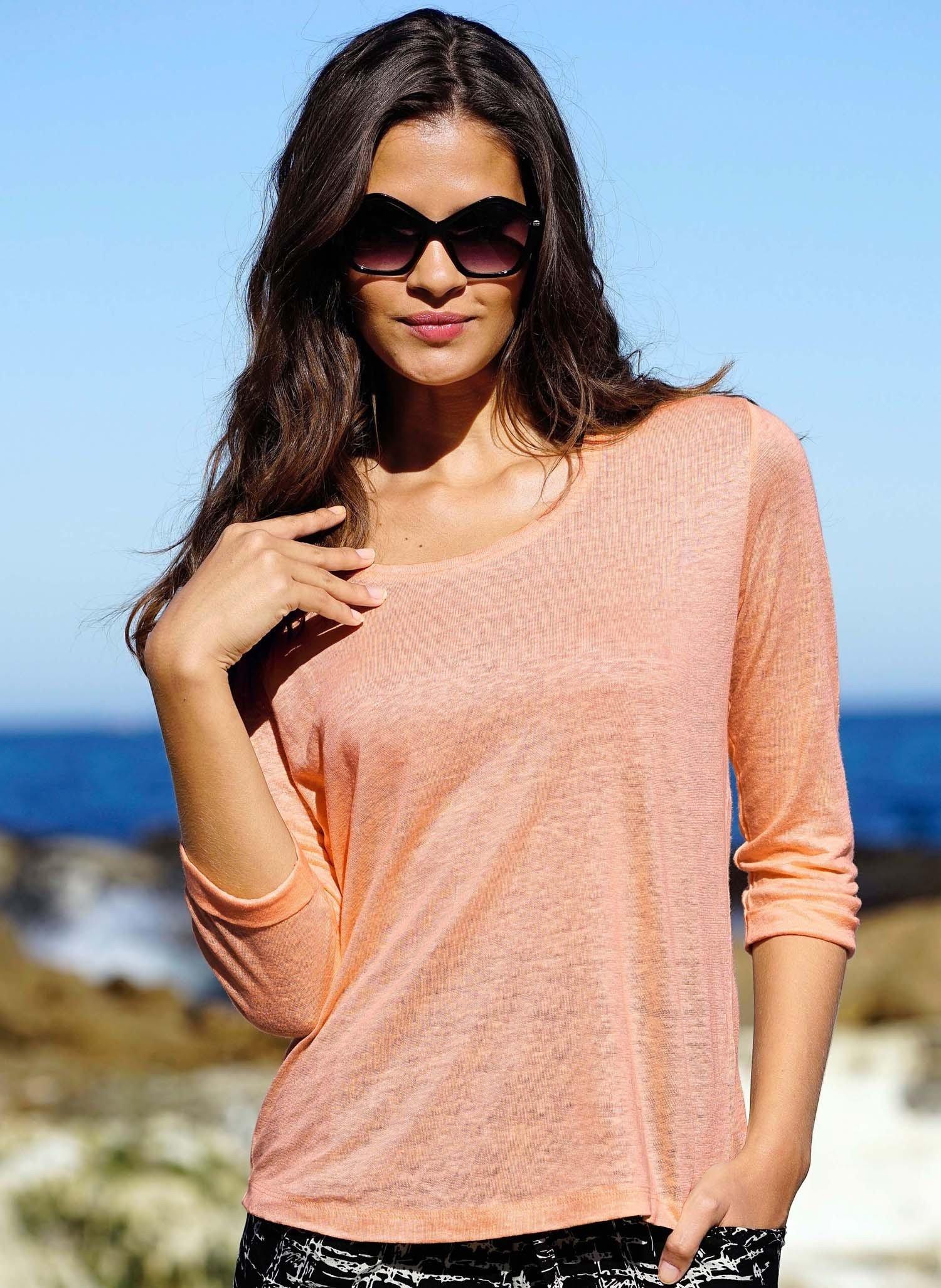 D-3/4-Arm-Shirt,Flammg.apricot L 037 - 4 - Ronja.ch