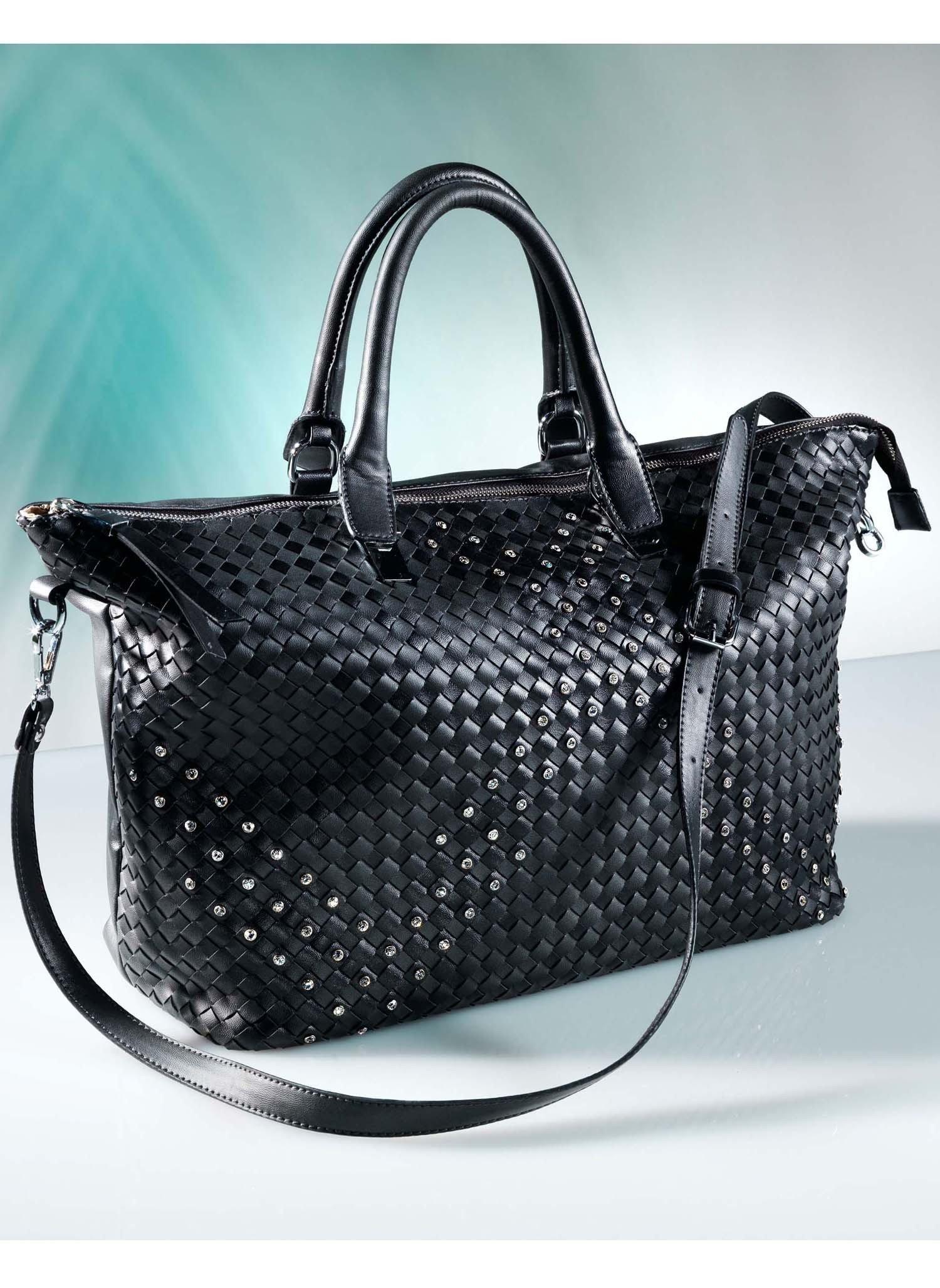 D-Handtasche,Strass,schwarz