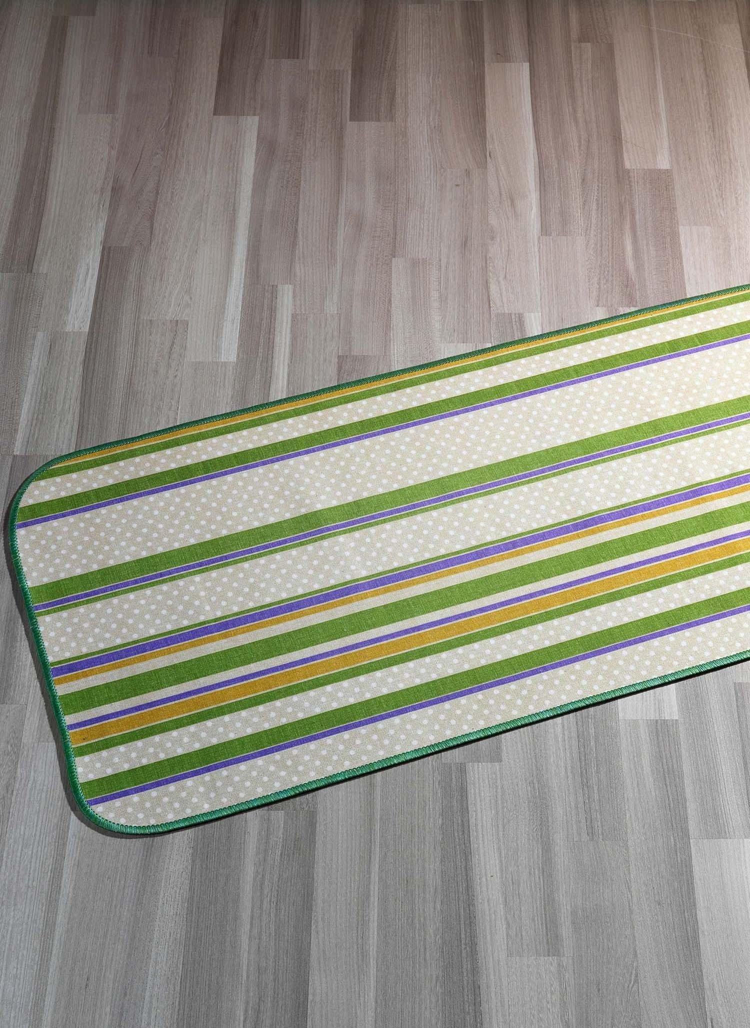 "Tappeto""RIGHE""verde 57x115"