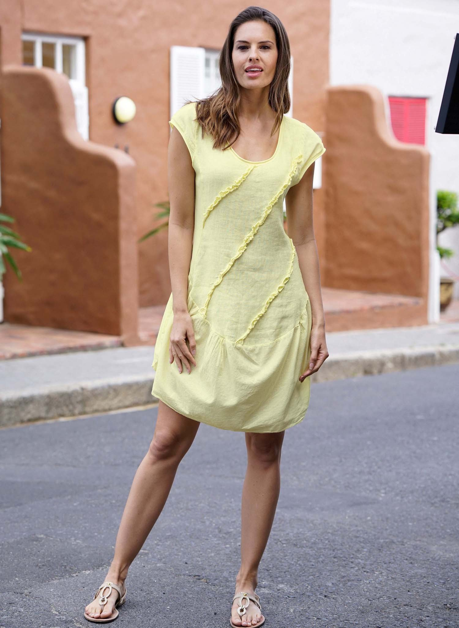 D-Leinen-Kleid,Rüschen gelb L 015 - 1 - Ronja.ch