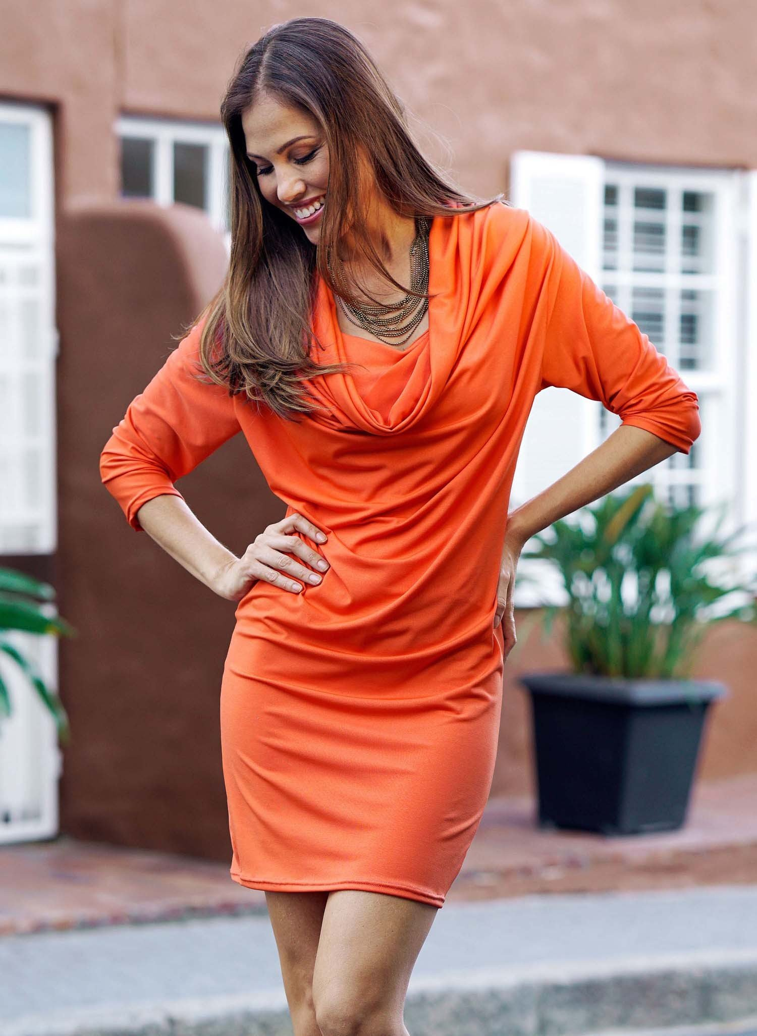 D-3/4-Arm-Kleid,Wasserf.orange L 022 - 3 - Ronja.ch
