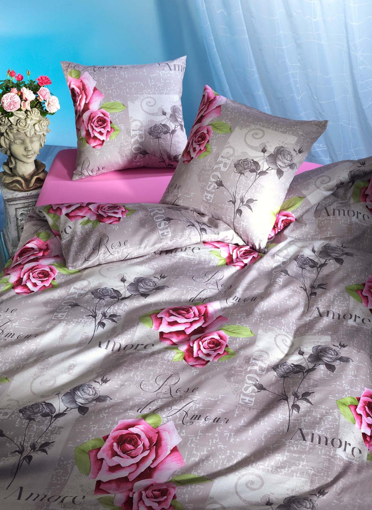 Biancheria da letto in  satin  «AMORE»