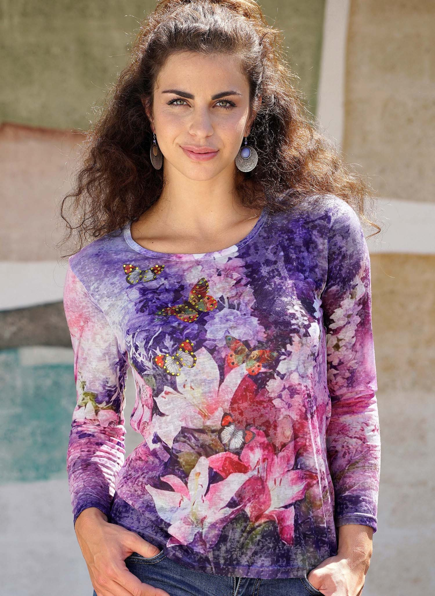 D-ML-Shirt,Fiori/Farfalle