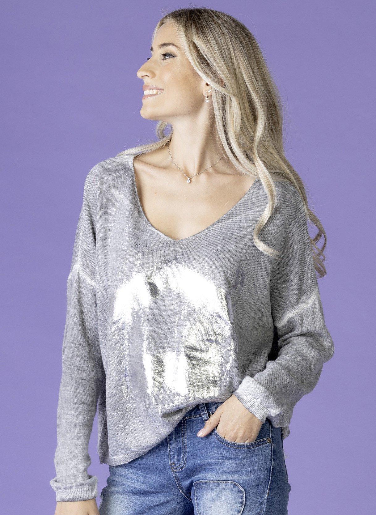 D-Pullover,Metalicprint silber L 007 - 1 - Ronja.ch