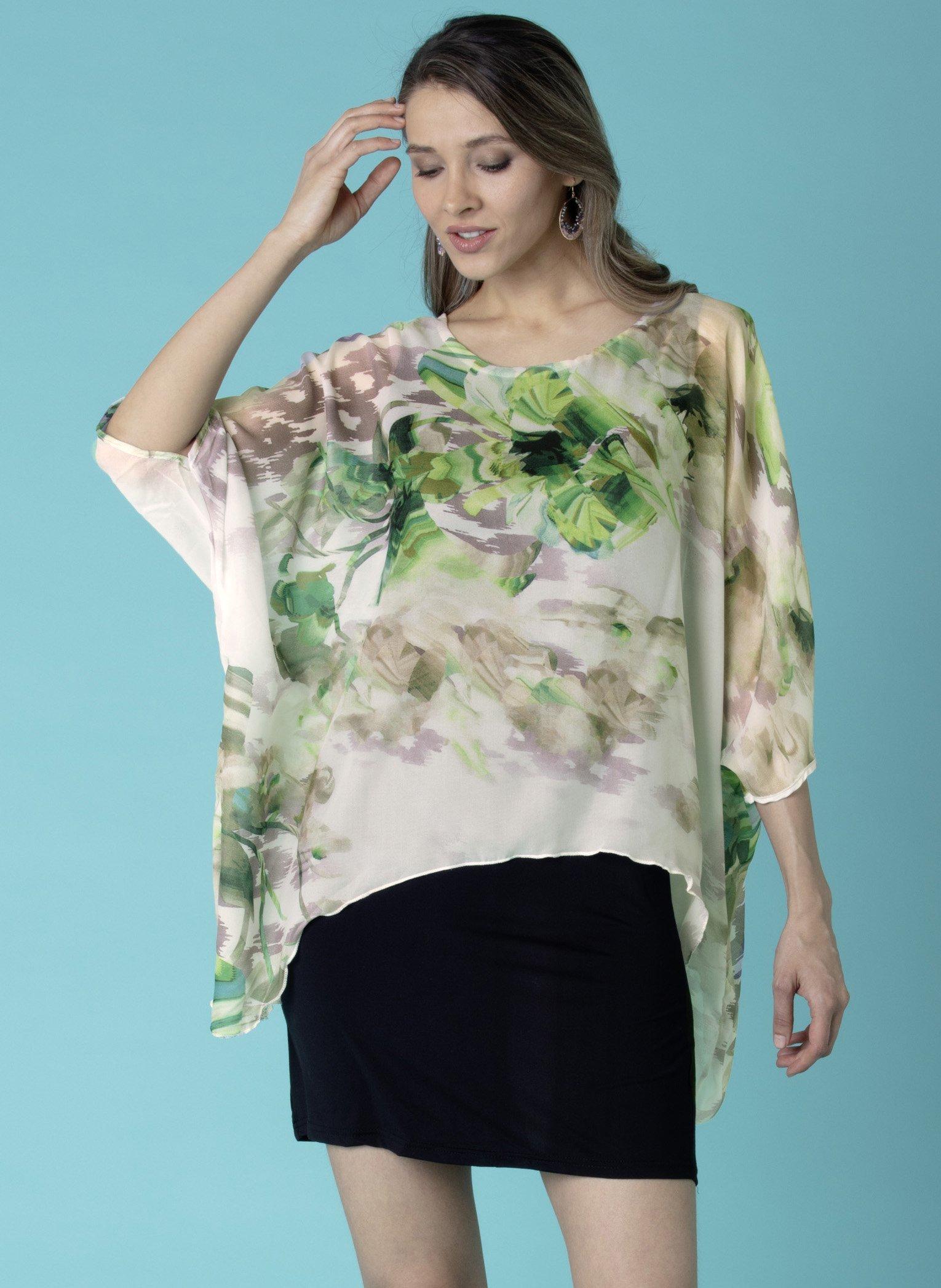 D-Kleid/Long-Top,Floral grün L 059