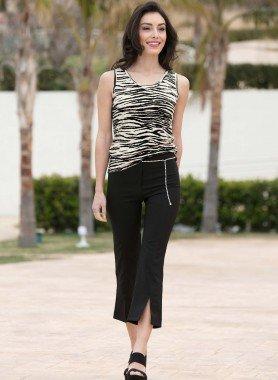 Pantalone 7/8, cint.con strass
