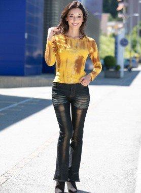 Jeans 5 tasche, colore argento/oro