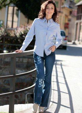 Jeans Bell-Botom, motivo drago