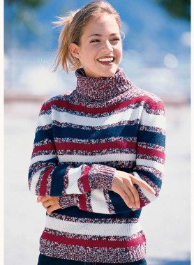 Pullover dolcevita, righe colorate