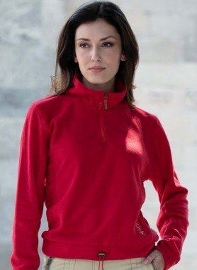 Fleece-Sweat, Lable-Satin-Stickerei