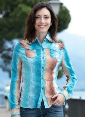 Langarm-Bluse, Batik