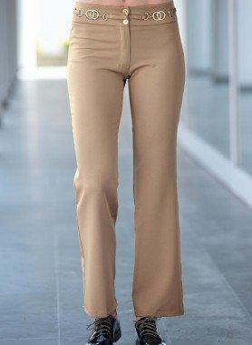 Pantalone gabardine, finta cintura
