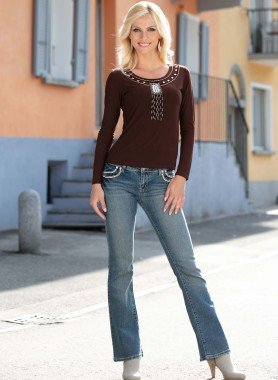 Jeans, cuore in strass