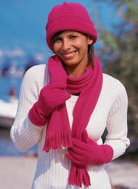Sciarpa, berretto, paio di guanti, zainetto
