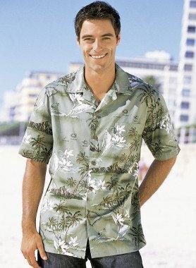 Camicia con maniche corte, motivo hawaiano