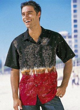 Camicia con maniche corte, motivo giapponese