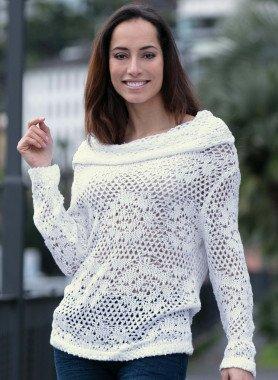 Pullover di maglia,eff.uncinetto