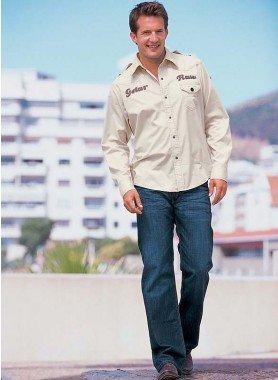 Jeans 5 tasche , sand-washed Blue-Denim