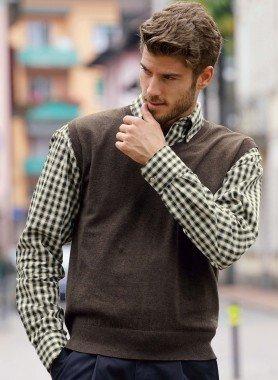 Pullover sena maniche in maglia fine