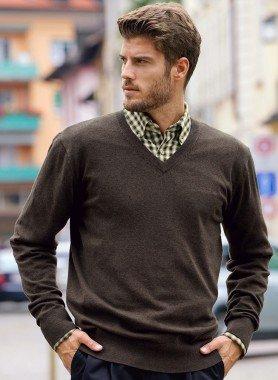 Pullover scoll.V, in maglia fine