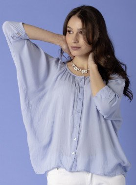 3/4-Arm Bluse, Knitter-Look