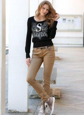 Pantalone 5-Tasche, cintura/rivetti